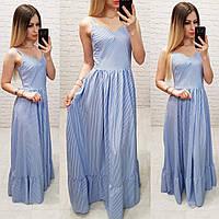 Платье арт 162 голубое в полосочку, фото 1