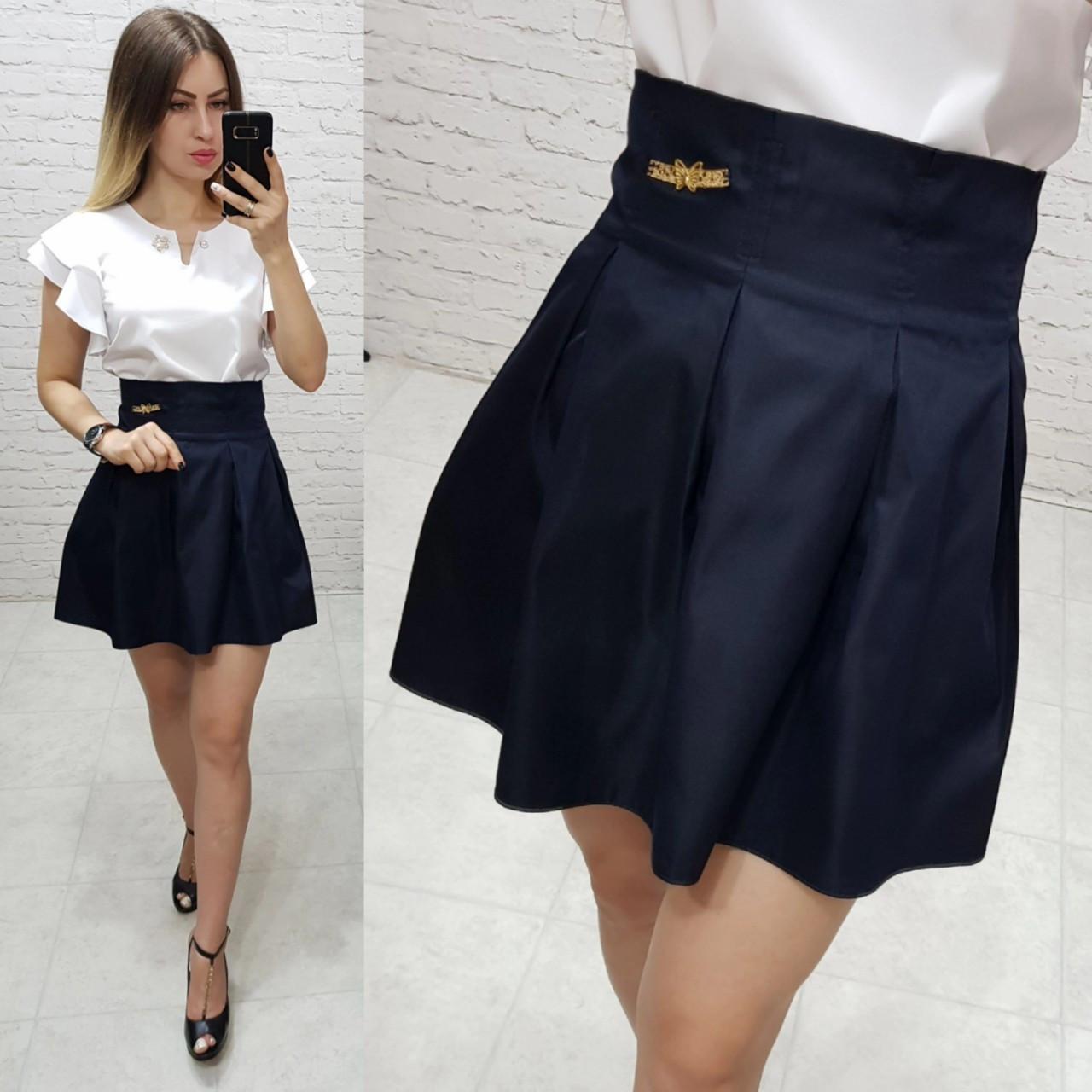 Юбка костюмка шерсть для девушки - подростка арт. 1010 чёрного цвета