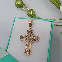 Хрестик золотий великий із розп'яттям та чорнінням