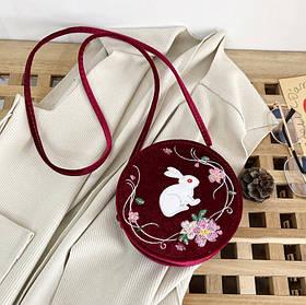 Милые бархатные круглые сумочки с вышивкой Зайчика