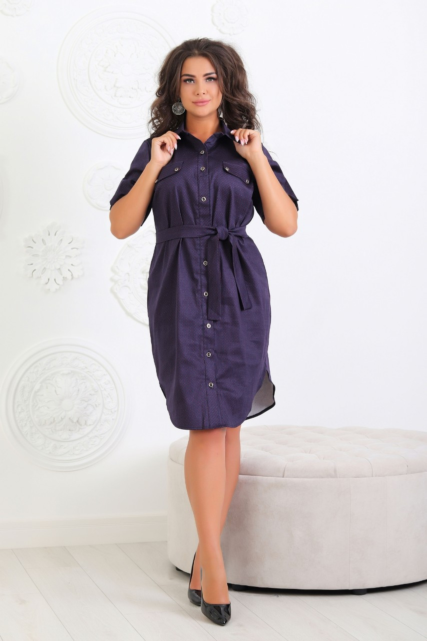 Платье - рубашка коттон  арт. 101/2 синий в красный горох