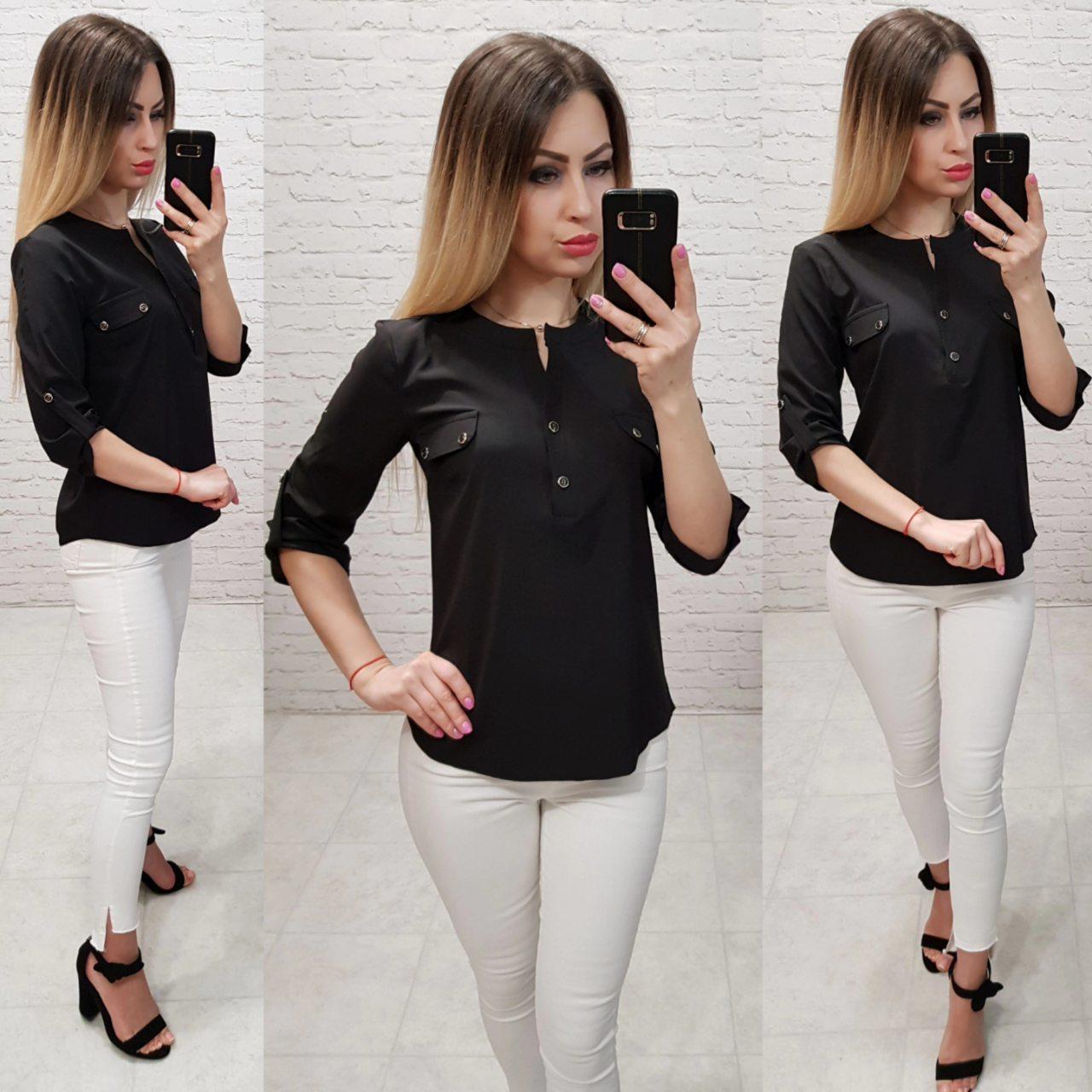 Блуза / блузка арт. 829 черная  / черный