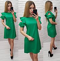 Платье с рюшами на плече арт. 783 зеленое / зеленый / трава