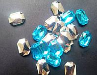 Стразы голубые 14х10 мм