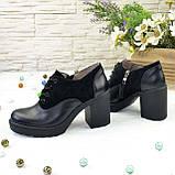 Женски туфли на высоком устойчивом каблуке, на шнуровке, натуральная кожа и замша, фото 2