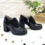 Женски туфли на высоком устойчивом каблуке, на шнуровке, натуральная кожа и замша, фото 3