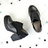 Женски туфли на высоком устойчивом каблуке, на шнуровке, натуральная кожа и замша, фото 4