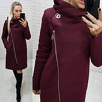 Пальто зимнее с капюшоном кашемир арт. 136/1 (цвет 11) марсала / бордовое, фото 1