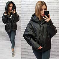 Куртка короткая оверсайз матовая арт. 187 черная / черный / черного цвета