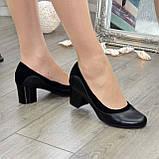 Женские классические туфли на невысоком устойчивом каблуке, натуральные кожа и замша, фото 2