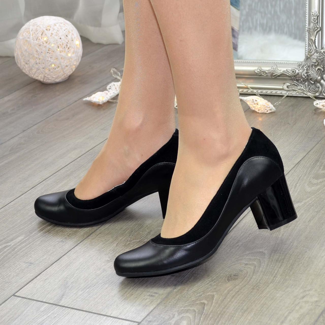 Женские классические туфли на невысоком устойчивом каблуке, натуральные кожа и замша