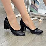 Женские классические туфли на невысоком устойчивом каблуке, натуральные кожа и замша, фото 3