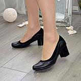 Женские классические туфли на невысоком устойчивом каблуке, натуральные кожа и замша, фото 5