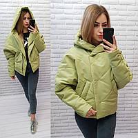 Куртка короткая оверсайз матовая арт. 187 нежный зеленый / зеленая фисташка / зеленого цвета