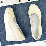 Женские туфли на высокой платформе, из натуральной кожи бежевого цвета, фото 4