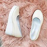Женские туфли на высокой платформе, из натуральной кожи бежевого цвета, фото 3