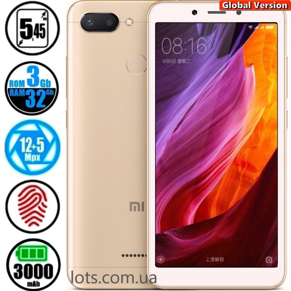 Смартфон Xiaomi Redmi 6 3/32Gb Gold (Global Version) + Подарок Защитное Стекло