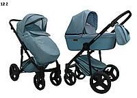 Детская коляска-трансформер 2 в 1 Mikrus Zara 12 бирюза ткань