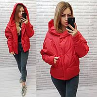Куртка короткая оверсайз матовая арт. 187 красная / красный / красного цвета