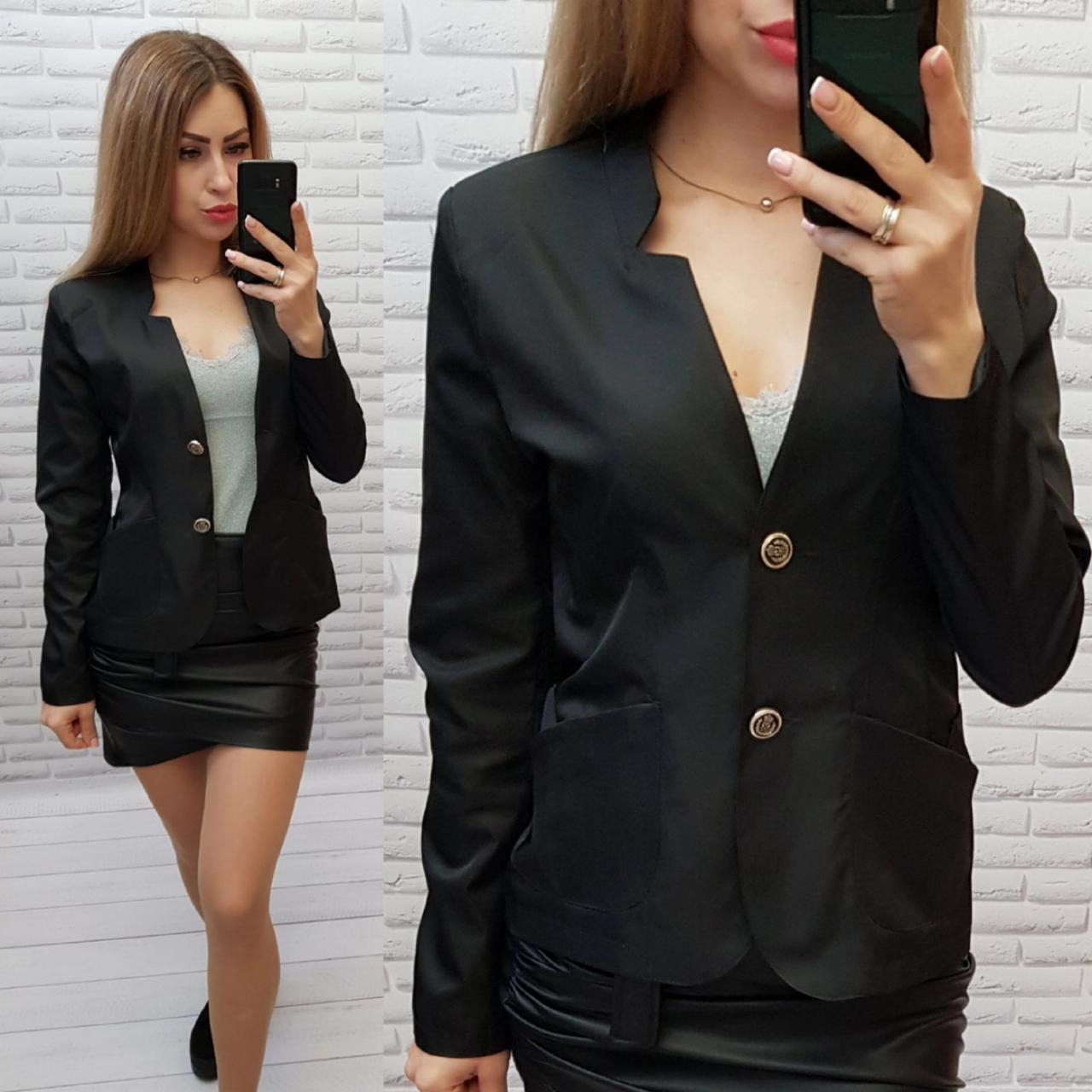 Піджак / жакет жіночий довгий рукав на підкладці жіночий арт. S1097 чорний / чорного кольору