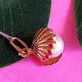 Золотой кулон с жемчугом Ракушка - Подвеска Ракушка с натуральной жемчужиной, фото 2