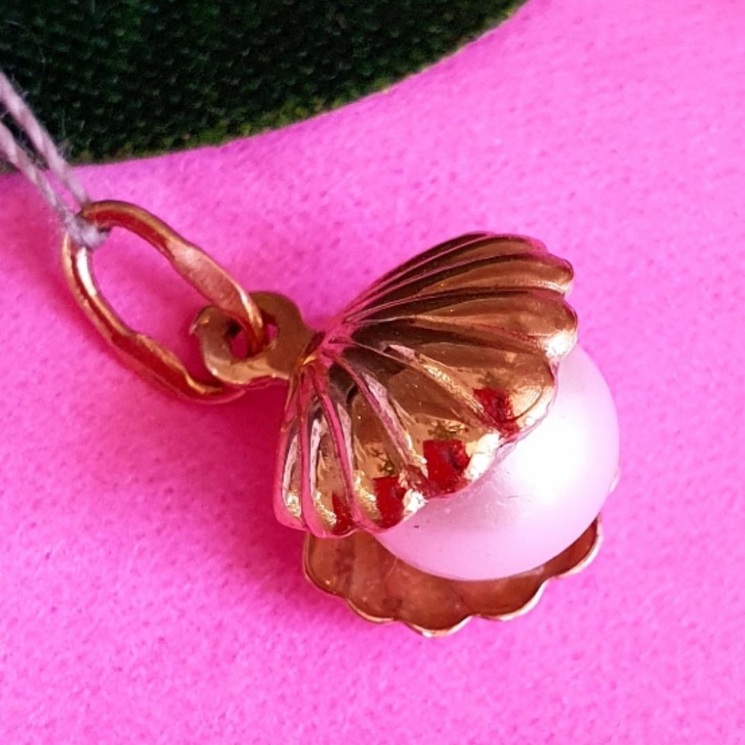 Золотой кулон с жемчугом Ракушка - Подвеска Ракушка с натуральной жемчужиной