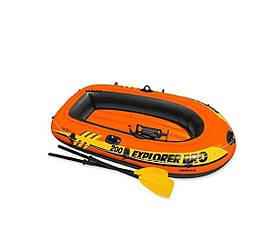 Полутораместная надувная лодка Intex, Explorer Pro 200 Set 196х102х33 cм, с веслами и насосом