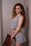 Женский летний трикотажный костюм шорты с майкой серого цвета