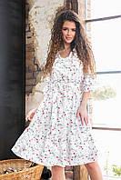 Платье арт. 200 с рюшами цвет 7 мелкие цветы на белом