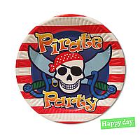 """Тарілки святкові паперові одноразові """"Пірат"""" 18 см 10 шт"""