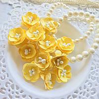 Цветы Вишни 25мм Жёлтый с тычинками