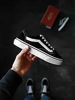 Ванс Олд Скул Блек Женские кроссовки черные Vans Old Skool Black. Женские кеды Ванс Маломерять на 1 размер