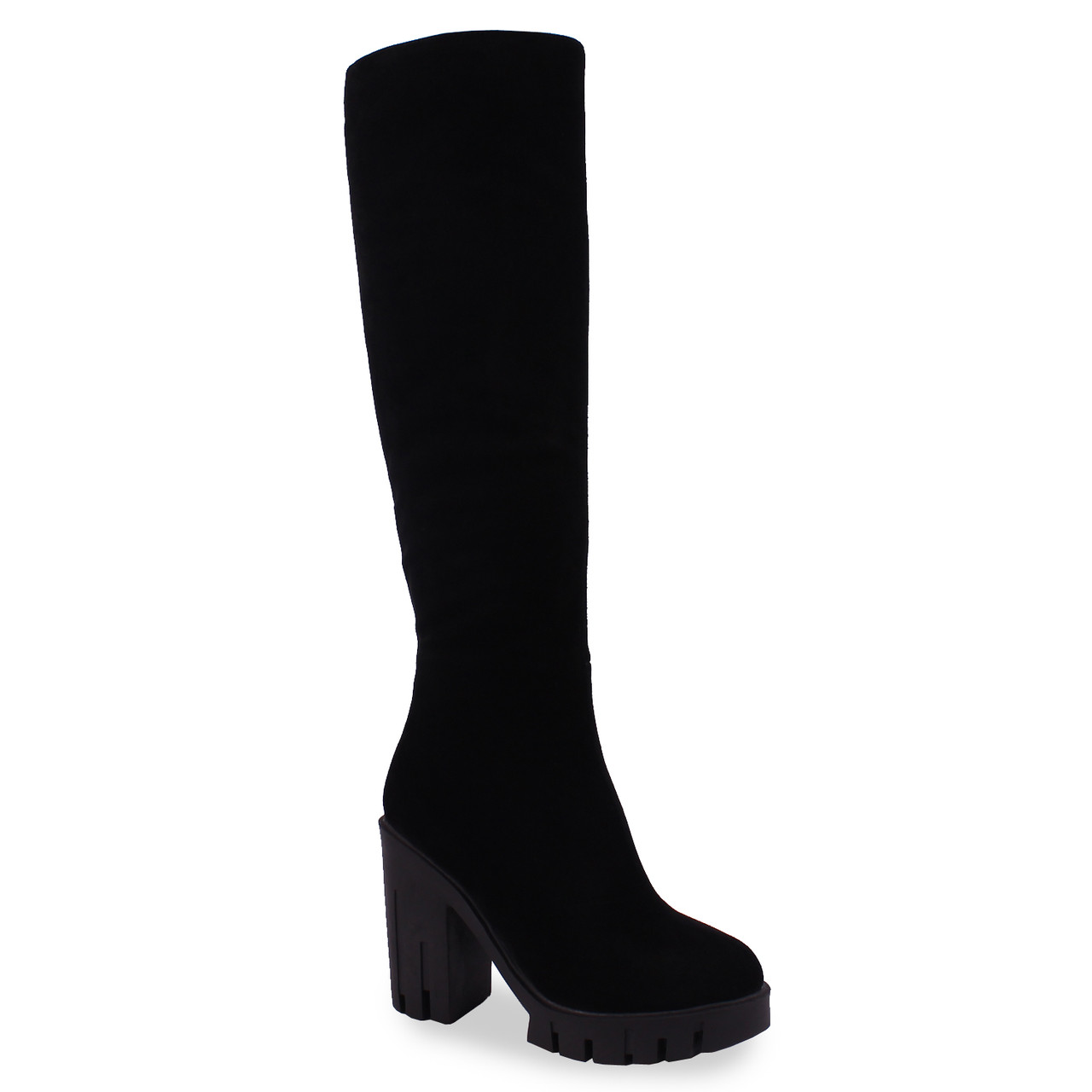 7f017190a Женские сапоги Mainila (замшевые, черные, зимние, теплые, на каблуке, на  толстой подошве)