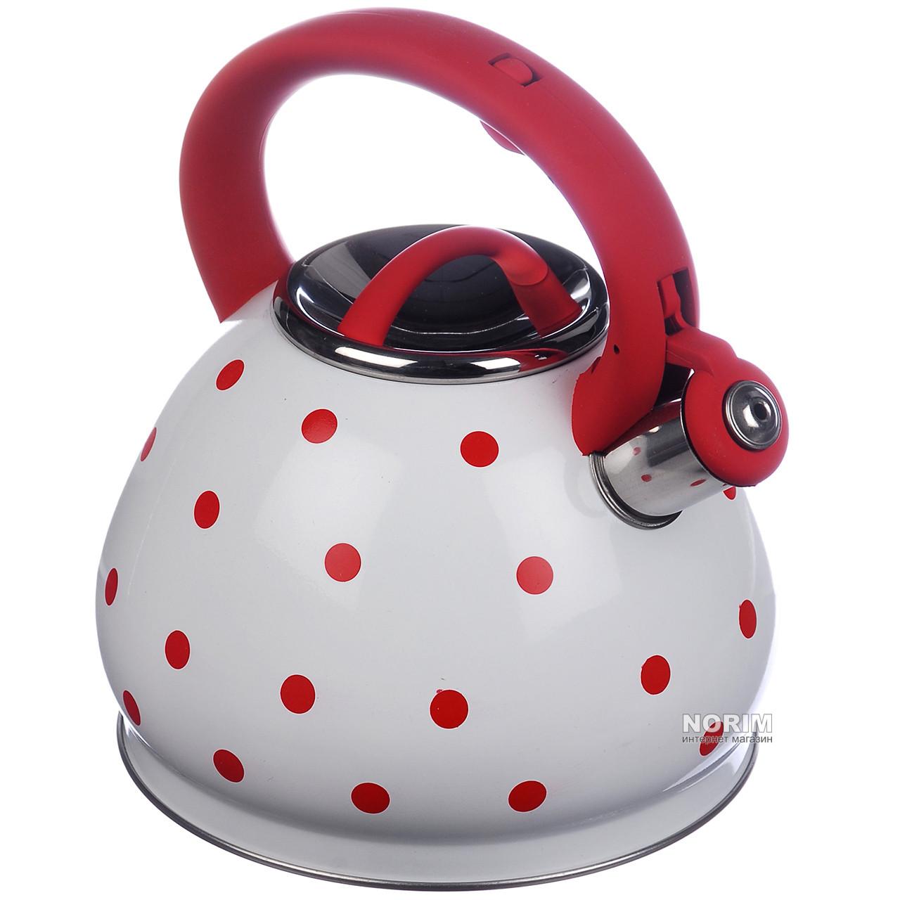 Чайник со свистком 3.0 л A-PLUS (1390 WK) Красная ручка (Уценка)