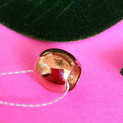 Золотой кулон Боченок - Кулон Золотая Бусинка Шарм на цепочку - Золотой кулон без камней