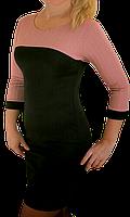 Женское молодежное силуэтное платье футляр черная роза Размер 42 44 46