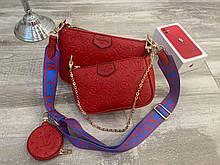 Сумка жіноча в стилі Louis Vuitton, Луї Вітон (2 в 1) червона