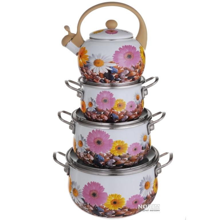 Набор кастрюль A-PLUS 3 кастрюли и чайник 2,2 л (3472) Эмаль (Уценка)
