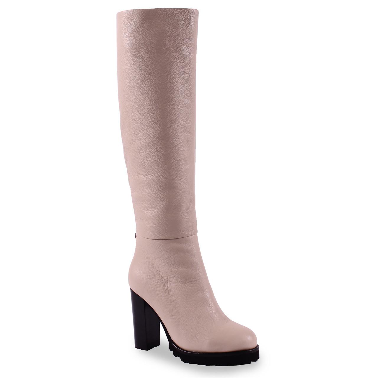 25587b0364b5 Купить Женские сапоги Angelo Vani (кожаные, бежевые, зимние, теплые, на  удобном каблуке, ...