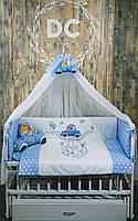 """Постельный комплект в кроватку """"машинка"""" синий"""