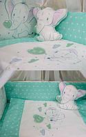 """Постельный комплект в кроватку """"слоник"""" зеленый"""