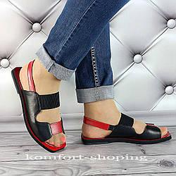 Женские босоножки кожаные, черный+красный V 1298