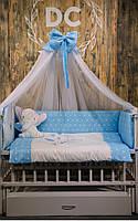 """Постельный комплект в кроватку """"слоник"""" синий"""