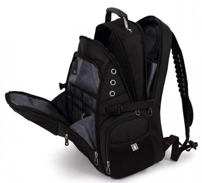 Городской Рюкзак SwissGear с отделением для ноутбука 35 л Черный + чехол от дождя (8810)