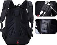Городской Рюкзак SwissGear с отделением для ноутбука 35 л Черный + чехол от дождя (8810), фото 3