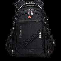 Городской Рюкзак SwissGear с отделением для ноутбука 35 л Черный + чехол от дождя (8810), фото 6