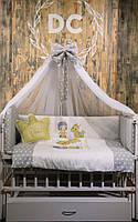 """Постельный комплект в кроватку """"принцесса"""" желтый"""
