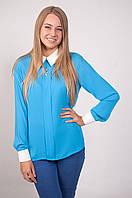 Блузка 202 голубая с белым размер 46