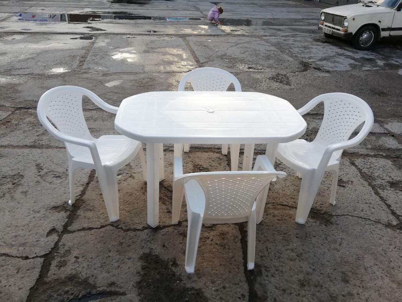 Белый комплект садовой мебели ЛЮКС! Стол большой + 4 кресла!