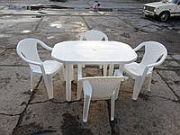 Белый комплект садовой мебели ЛЮКС! Стол большой + 4 кресла!, фото 1